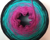 Color Change Gradient Yarn - Mod Squad II - Cotton Fingering Weight Jazz Handz -  Fusion Version - Black Magenta Aqua