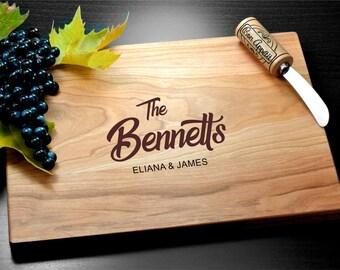 Couple Cutting Board, Engraved, Custom Cutting Board, Personalized Bamboo Board, Wedding Gift, Housewarming Gift, Monogram, Personalized