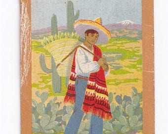 Swap Trading Card - 1930s - 1940s - Southwest Farm Worker - Playing Side is King of Clubs