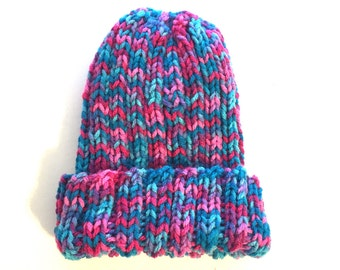 Kids stretch  hat, Toddler hat, multicolor child hat, thick winter hat, warm colorful hat, knit girl beanie, girl skull hat, pink blue cap