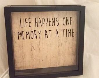 12x12 Ticket Stub Holder, Keepsake Box, Souvenir Shadow Box, Life Happens One Memory at a Time on Wood Pattern