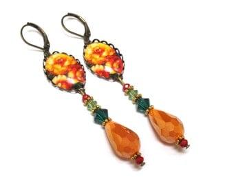 Victorian style earrings, Orange, Bohemian Belle Epoque Art Nouveau inspired, Russian flowers