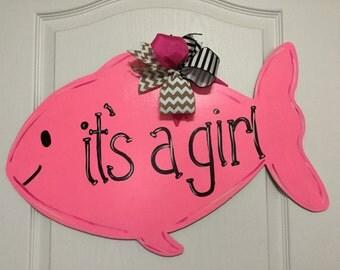 Pink Fish Its a Girl Wooden Door Hanger