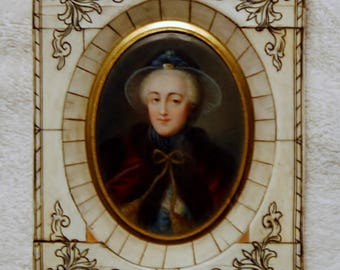 1800's Picture Framed Women with Ivory chips - leather back