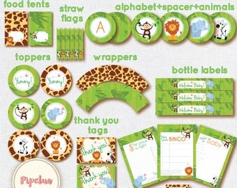 Babyshower Jungle Safari Party Package. Instant download. Printable. Jungle Safari Babyshower. Babyshower printables