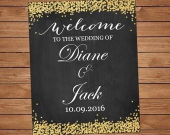 Custom chalkboard signs, Custom Wedding Poster, Chalkboard wedding sign Printable, Welcome Sign, Wedding Welcome, Wedding chalkboard poster
