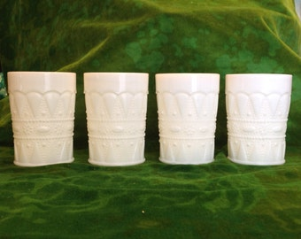 Kemple milk glass Lace and Dewdrop tumblers: set of four