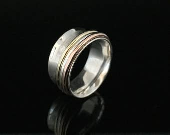 Gold Copper and Silver Tone Spinner Ring // 925 Sterling Silver with Gold Vermeil // Sterling Spinning Ring