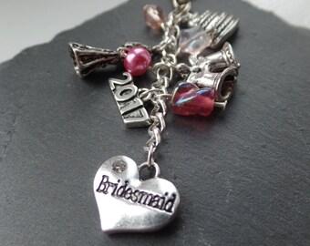 Bridesmaid bag charm - bridesmaid gift - will you be my bridesmaid - wedding gift - gift for bridesmaid - bridal party gift - wedding favour