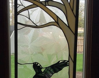 Huginn and Muninn Odin's Ravens Norse Stained glass panel