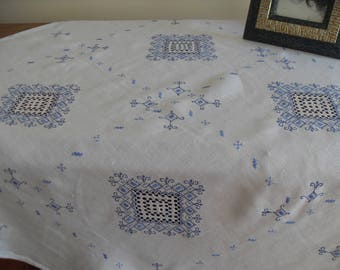 Linen cloth with blue embroidery, delicate fine embroidery hand