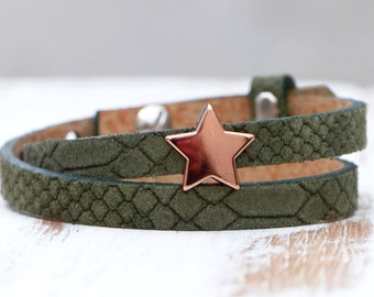 Rosègolden Star - Leatherband in moss green