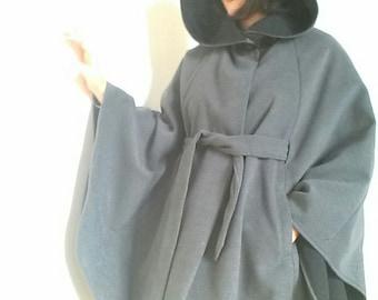 Coat romantic wide gray wool hooded cape / winter large romantic hooded cape / cloak hood spirit medieval women
