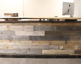 reclaimed wood reception desk with office countertop welcome center help slab counter f