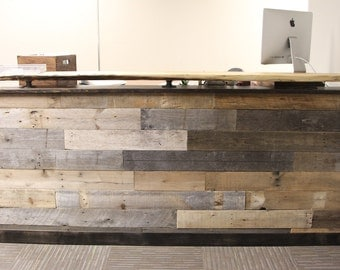 Reclaimed Wood Reception Desk with Office Desk Countertop Office Desk Welcome Center Help Desk Slab Counter