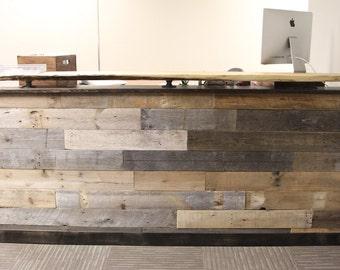 Chic Reclaimed Wood Office Desk minimal office deskoffice Reclaimed Wood Reception Desk With Office Desk Countertop Office Desk Welcome Center Help Desk Slab Counter
