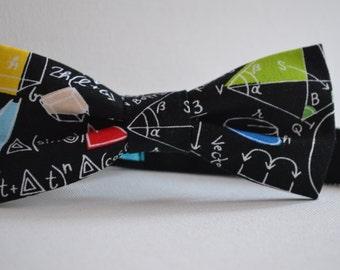 Mens Math/Geometry bow tie - Slim bow tie - Teacher gift - Gift for him - Gift for teacher - Secret santa - Christmas