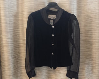 Another Thyme Velvet Top with sheer Sleeves Vintage evening wear size 5
