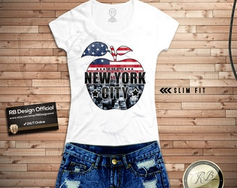 Womens T-shirt NYC New York City The Big Apple Ladies Stretchy cotton a fruit Tank Top Tee RB Design WD069