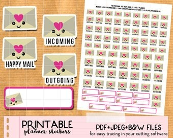 Kawaii Envelope, Happy Mail, Post stickers set - Cute Printable Planner stickers, Print and Cut stickers for Happy Planner, Filofax, ECLP