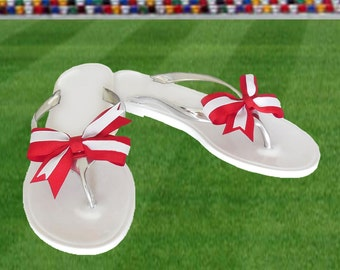 Red + White Bow Jelly Sandals