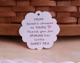 25 Sweet Pea Favor Tags, Mommy to Be Sweet Pea Tags, Sweet Pea Baby Shower Tags, Custom Baby Shower Tags