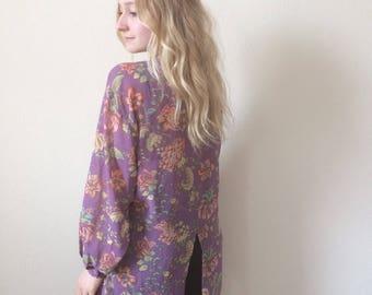 Nutshell Vintage Purple Paisley Oversized Shirt
