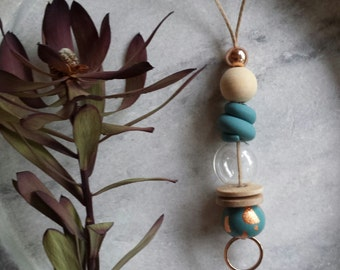 Polymer Clay, Wood, Glass & Brass Bead Necklace, Pendant, One-of-a-kind, Elements, Mixed Media, Geometric, Green, Copper