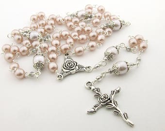 Catholic Rosary Beads - Handmade Soft Pink Glass Pearls Five Decade Rosary - First Communion Gift - Baptism Gift - Catholic Gift
