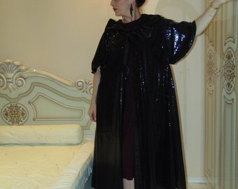 Holiday black sequin cape mantle/Opera evening cape/Boho cape cloak/Hooded cape tabard/Victorian Cape cloak/ Evening sequin cape/