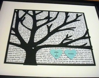 Gifts For couples, Newlywed Gifts, First Dance Lyrics, 11X14 Unframed 3D Paper Tree Wedding Gift, Anniversary, Wedding Song Lyrics