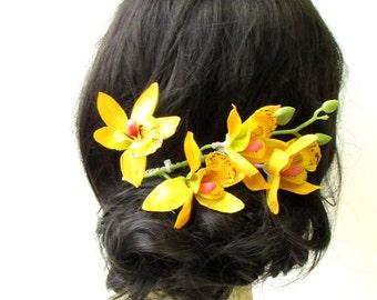 Long Yellow Cattleya Orchid Flower Stem Hair Comb Fascinator Headpiece Vtg 1276