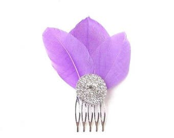 Purple Feather Fascinator Hair Comb Silver Diamante Bridesmaid 1920s Clip 2403