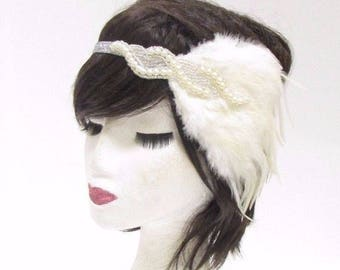 Silver Ivory White Feather Headband 1920s Flapper Headpiece Great Gatsby 2798