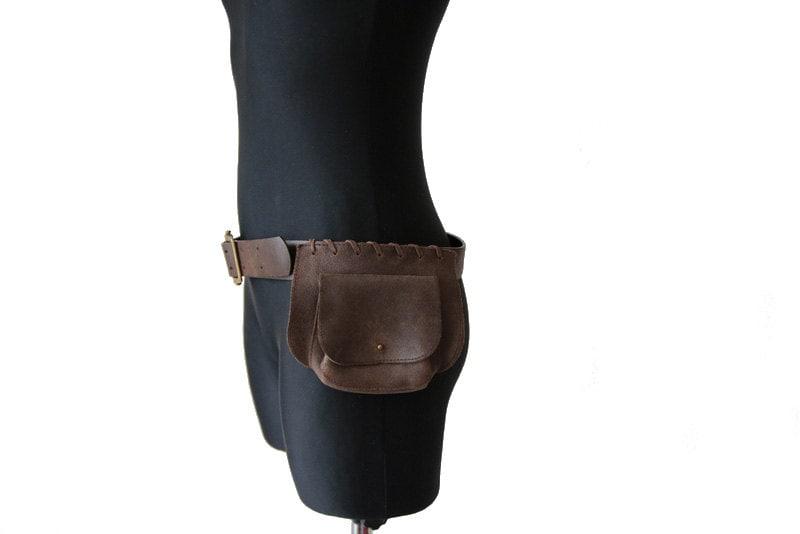 vintage brown leather belt bag utility belt brown sidebag
