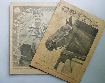 Grit, Vintage Western Newspaper, 1940's Newspaper Ephemera, Old Newspapers