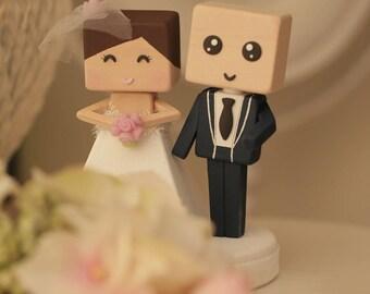 bride and groom  wedding cake topper Handmade,Handcrafted wood  dolls