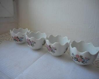 set of 4 vintage French porcelain tea light candle holders