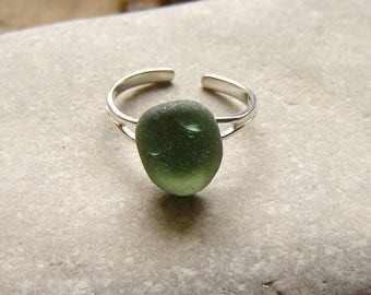 Sea Glass Ring, Silver Ring in Green English Sea Glass, Seaham Seaglass Ring, Green Ring, Sterling Silver Adjustable Ring, Seaglass Jewelry