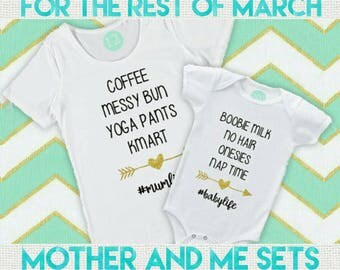 FREE POST in Australia - Matching #mumlife and #babylife tees for Mothers Day