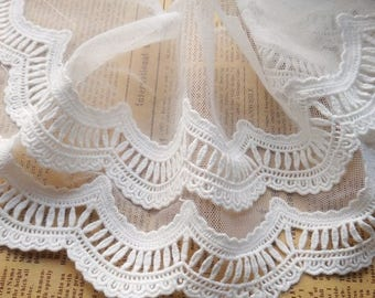 White Floral Lace Trim Embroidery Cotton Lace Trim 5.51 Inches Wide 2 Yards X0174
