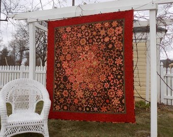 Red and Brown Kaleidoscope Lap Quilt, 63 by 73