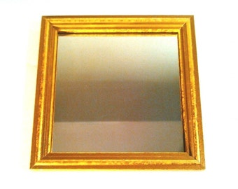 """5 3/4"""" GOLD Wooden Hollywood Regency MIRROR Wall Hanging Vintage Home Interiors USA"""