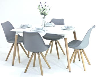 P&N Homewares® Sophia Dining Table and 4 Chairs Set Retro Modern Chairs Choice of Black or White Table White Black or Grey Chairs
