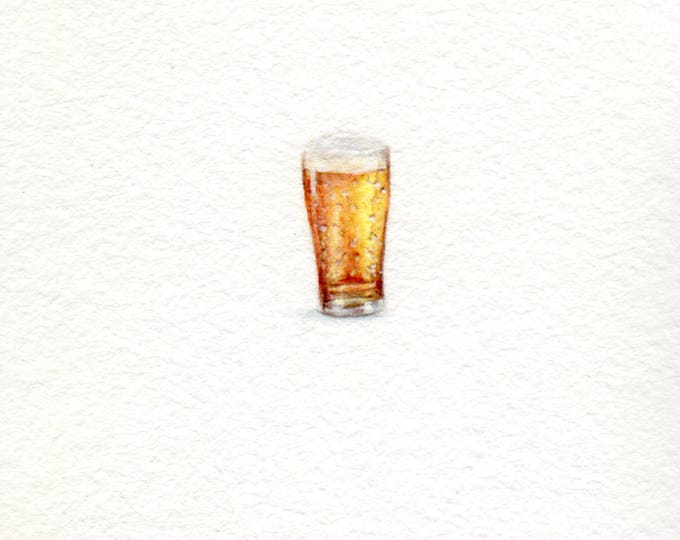 "Print of miniature painting of a Pint of Beer. 1 1/4"" x 1 1/4"" print of original Pint of Beer painting on 5"" square german etching paper"