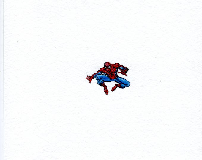 "Print of miniature painting of Spiderman 1 1/4 x 1 1/4"" print of original Spiderman painting on 5"" square german etching paper"