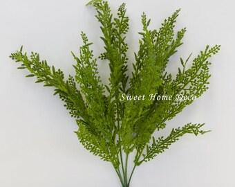 JennysFlowerShop 14'' Flocked Lace Artificial Greenery Bush Medium Size Bush DIY Craft Greenery & Silk Plants Set of 2