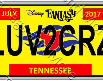 Colorful License Plate Disney Cruise Door Magnet (7 Colors to Choose From)