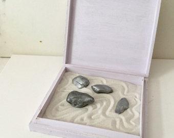 Silver Pressed Ginkgo Leaf Mini Zen Garden Box