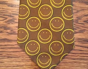 Vintage 1970s HAPPY FACE Necktie- Have A Nice Day Tie